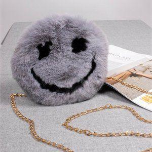 Smiley Face Plush Purse w/ Gold Chain - Grey